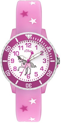 S'Oliver Unisex Child Analogue Quartz Watch with Silicone Strap SO-3561-PQ