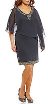 J Kara Plus V-Neck Beaded Popover Dress