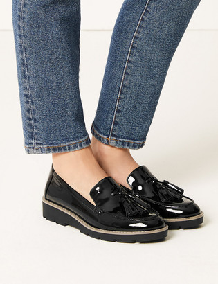 Marks and Spencer Leather Flatform Cleat Sole Loafers