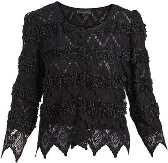 Pretty Angel Women's Cardigans BLACK/BLACK(BK/BK) - Black Rosette Crochet Linen-Blend Crop Cardigan - Women