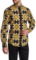 Versace Printed Long Sleeve Trim Fit Woven Shirt