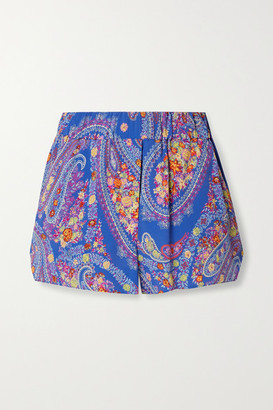 Etro Burguete Printed Georgette Shorts - Blue