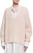 Acne Studios Deborah Oversized Wool V-Neck Sweater, Light Pink