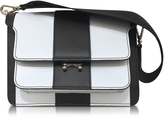 Marni Lily White and Black Stripe Leather Medium Trung Bag