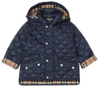 Burberry Kids Detachable Hood Diamond Quilted Jacket
