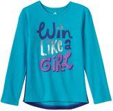 "adidas Girls 4-6x Win Like A Girl"" High-Low Shirttail Tee"