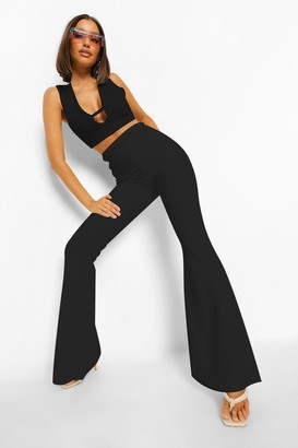 boohoo Cut Out Side Fit And Flare Pants