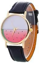 Etbotu Girls Fashion Watermelon Student Wristwatch Analog Quartz Watch with Faux Leather Strap