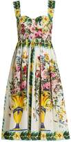 Dolce & Gabbana Floral-print gathered-skirt cotton-poplin dress