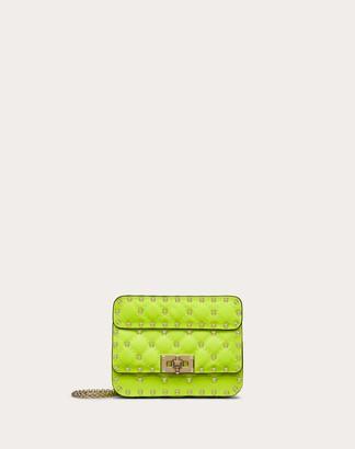Valentino Mini Rockstud Spike Fluo Calfskin Leather Bag Women Lime Calfskin 100% OneSize