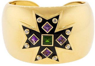 Verdura 18kt yellow gold diamond Maltese cross cuff