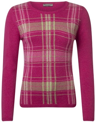 Great And British Knitwear Great & British Knitwear Ladies HM231 100% Lambswool Tartan Pullover. Made in Scotland-Damask-Medium