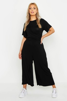 boohoo Plus Twist Detail Cap Sleeve Culotte Jumpsuit