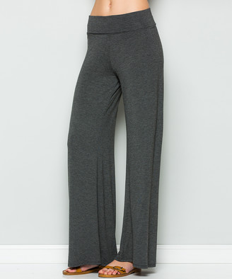 Acting Pro Women's Casual Pants CHARCOAL - Charcoal Ruched-Waist Palazzo Pants - Women