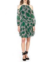 Donna Morgan Printed Cold Shoulder A-Line Dress