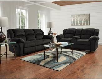 Overstock Dual Reclining Microfiber Sofa and Loveseat Set, Allure Grey