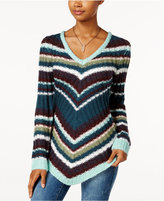 Ultra Flirt Juniors' Mitered Stripe Tunic Sweater