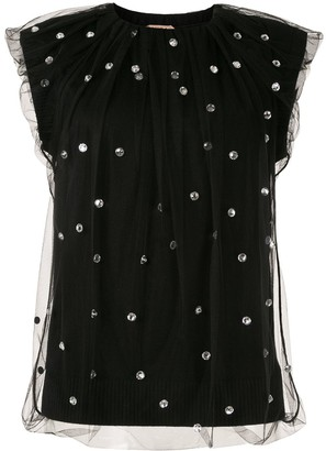 No.21 Crystal Embellished Knitted Top