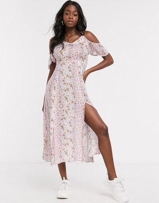 En Creme cami stap midi dress in mixed floral print