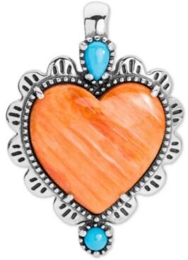 American West Orange Spiny & Turquoise Heart Charm Pendant Enhancer