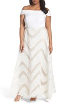 Adrianna Papell Plus Size Women's Organza And Jersey Ballgown
