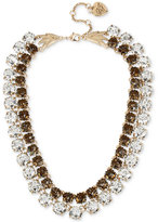 Betsey Johnson Gold-Tone Patina Crystal Two Layer Collar Necklace
