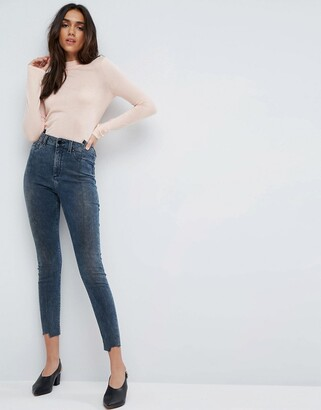 Asos Design RIDLEY High Waist Skinny Jeans With Seamed Split Front in Valentine Dark Mottled Wash-Blue