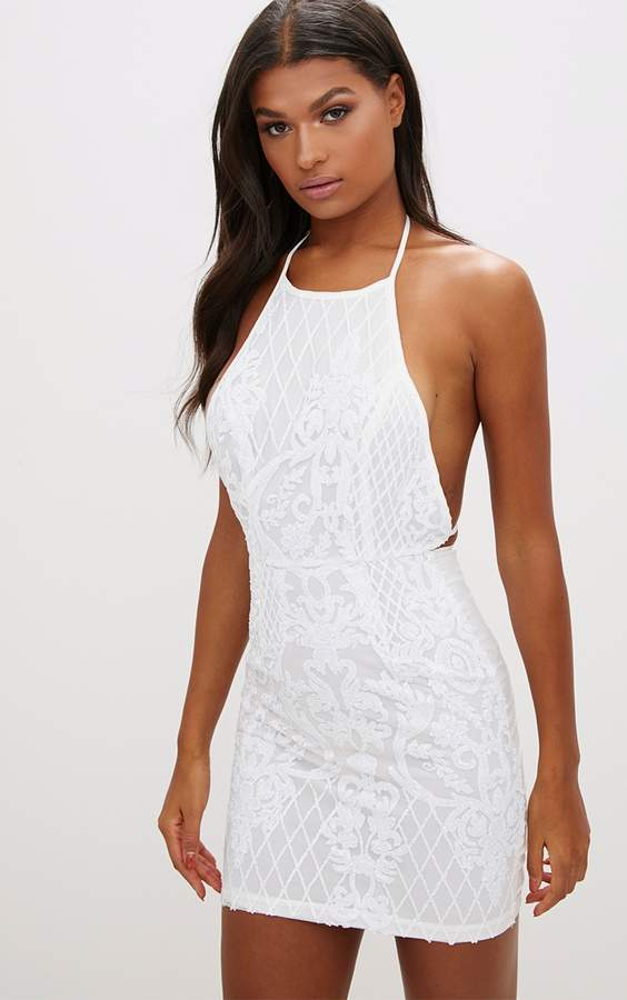 PrettyLittleThing White Sequin Front Bodycon Dress