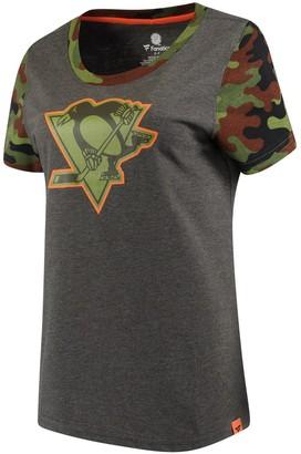 Women's Fanatics Branded Heathered Gray/Camo Pittsburgh Penguins Recon Camo T-Shirt
