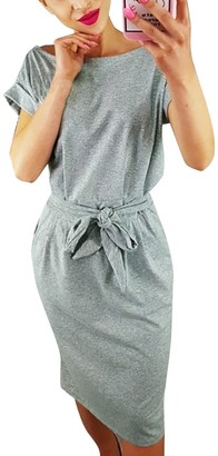 Yieund Yieune Summer Dress Round Neck Party Cocktail Dress with Belt Elegant Casual Knee Long Dress (Grey XL)