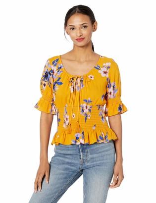 Jessica Simpson Women's Plus Size Viva Printed Elbow Sleeve Peasant Top
