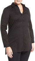 Lafayette 148 New York Casey Button-Front Long-Sleeve Top, Black, Plus Size