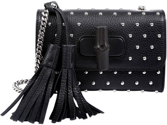 Gucci Black Leather Small Miss Bamboo Shoulder Bag