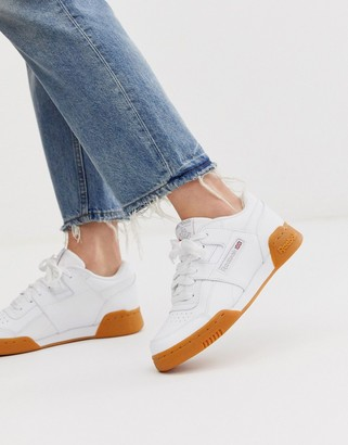 Reebok Workout trainers in white with gum sole