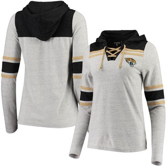 Antigua Women's Heathered Gray Jacksonville Jaguars Wrestle Hooded V-Neck Pullover Top