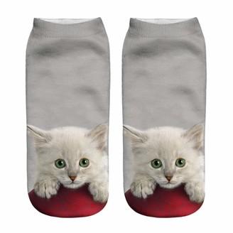LOPILY Women Cat Print 3D Socks Festive Christmas Socklet Funny Socks Novelty Cute Insulated Hard Wearing Socklet A-c