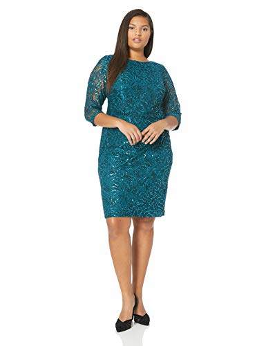 Jessica Howard Plus Size Womens 3/4 Sleeve Side Tucked Sheath Dress