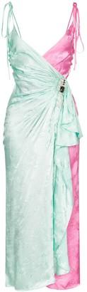 ATTICO two-tone jacquard wrap-around slip dress