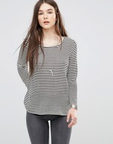 Only Striped Top with Back Lace Insert