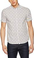 Merc of London Men's Caspian, S/s Retro Geo Print Casual Shirt