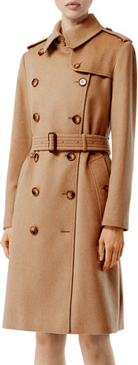 Burberry Kensington Cashmere Twill Double-Breasted Trench Coat