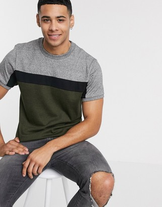 ASOS DESIGN t-shirt with contrast body panels in heavyweight twisted jersey