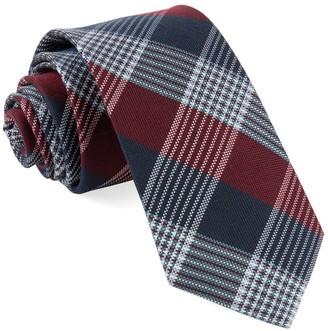 Tie Bar Oxford Plaid Burgundy Tie