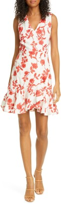 Rebecca Taylor Scarlet Floral Sleeveless Linen Dress