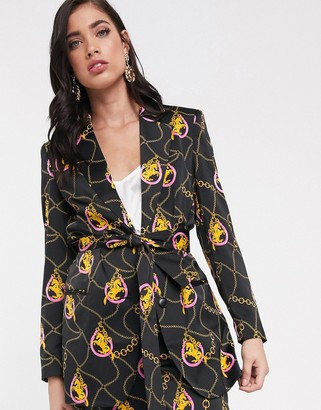 Asos Design DESIGN lucky horse belted relaxed suit blazer