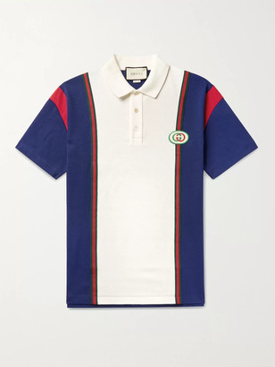 Gucci Logo-Appliqued Webbing-Trimmed Cotton-Jersey Polo Shirt