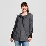 Miss Chievous Women's Plus Size Cowl Neck Sweatshirt Grey