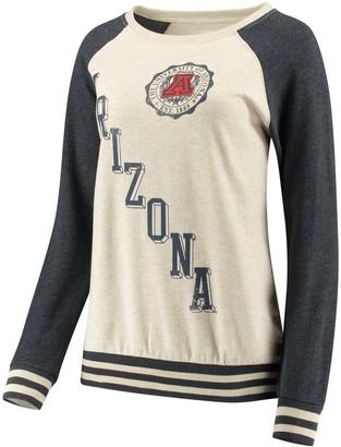 Women's Pressbox Cream/Navy Arizona Wildcats Sundown Vintage Pullover Sweatshirt