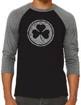 LOS ANGELES POP ART Los Angeles Pop Art Men's Raglan Baseball Word Art T-shirt - Owl