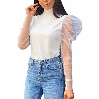 Geagodelia Women Mesh Sheer Top Long Sleeve Transparent Puff Sleeve High Neck T-Shirt Autumn Fashion Clothes Tees (White S)